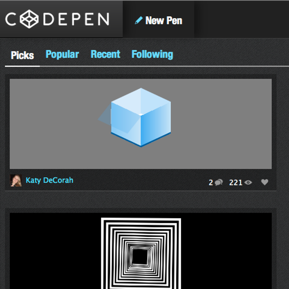 Two years ago on CodePen