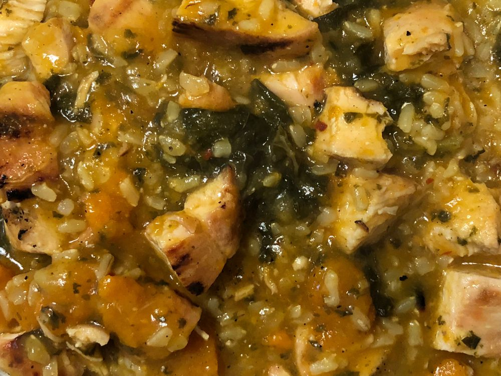 Coconut curried kale, sweet potato, and chicken